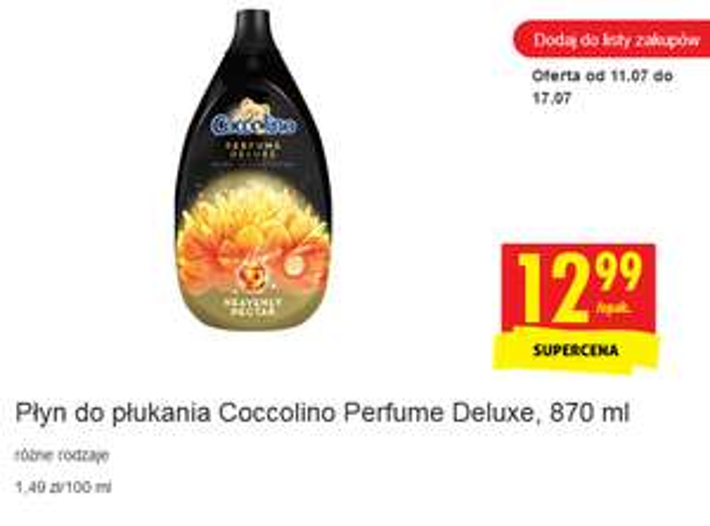 Płyn do płukania Coccolino Perfume Deluxe, 870 ml @Biedronka