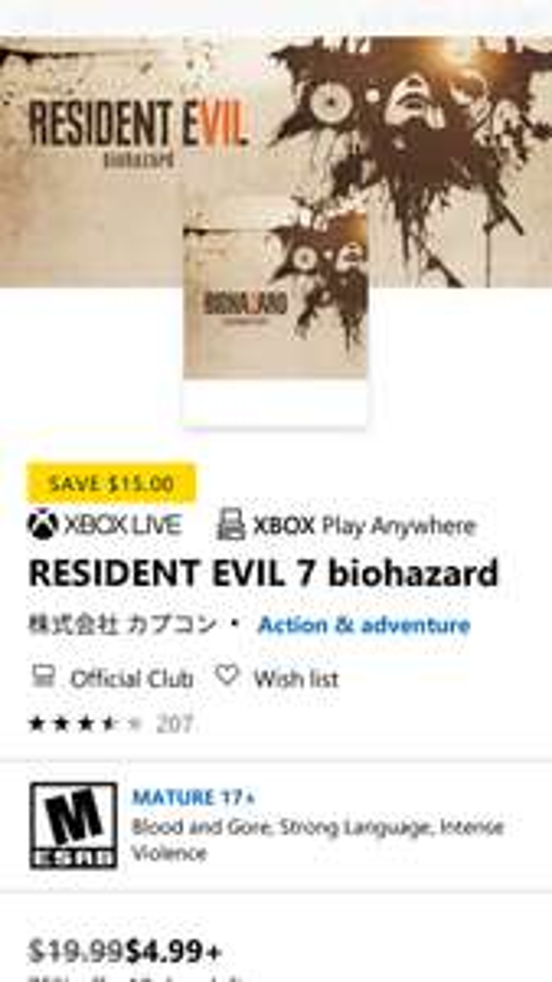 Resident Evil 7: Biohazard (Xbox One/PC kod cyfrowy ) za 4,99$ (Xbox Store US)