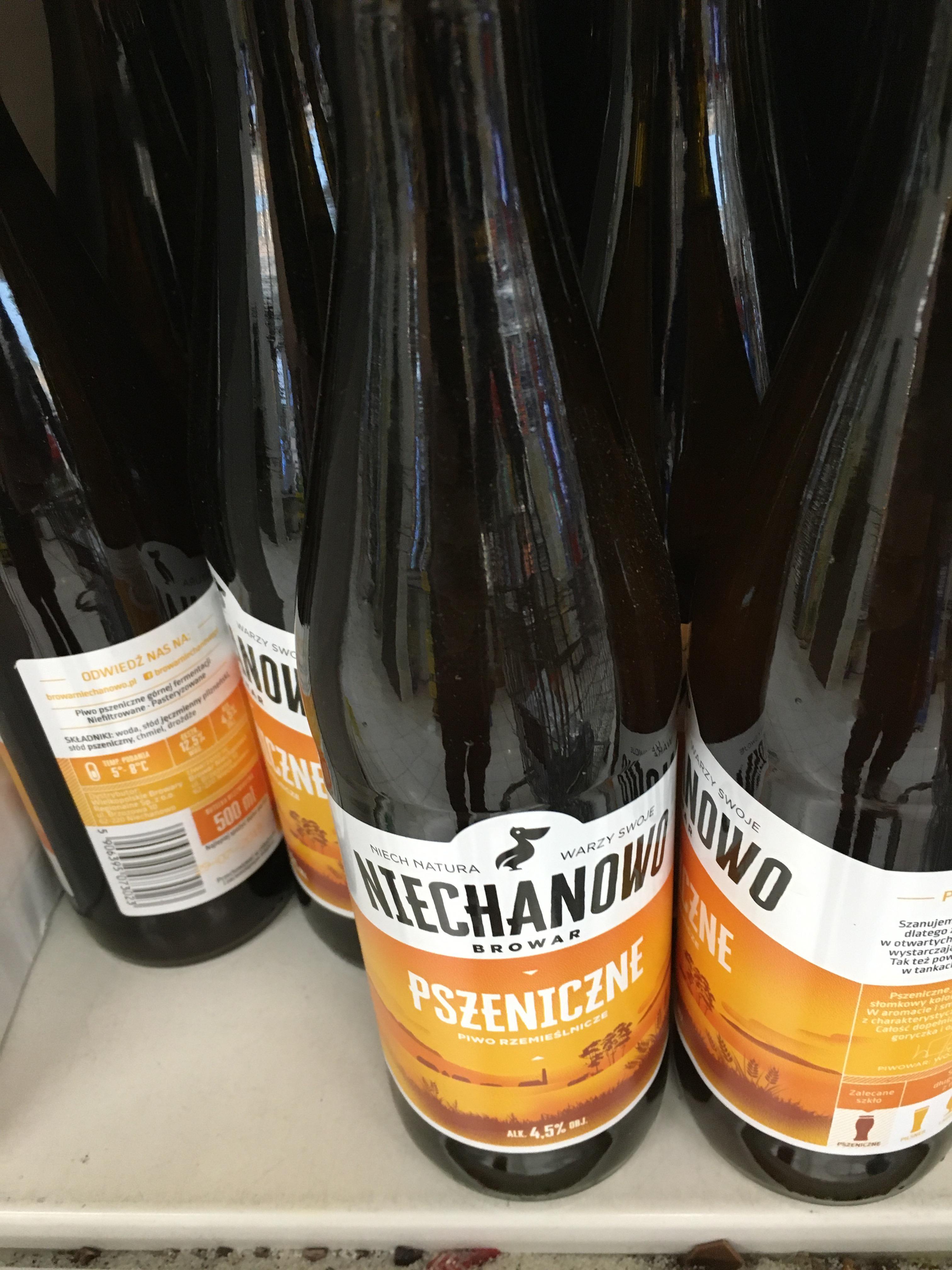 Piwo pszeniczne przemieślnicze, browar Niechanowo - TESCO Magnolia Park, Wrocław (bez kaucji). Termin 29.07