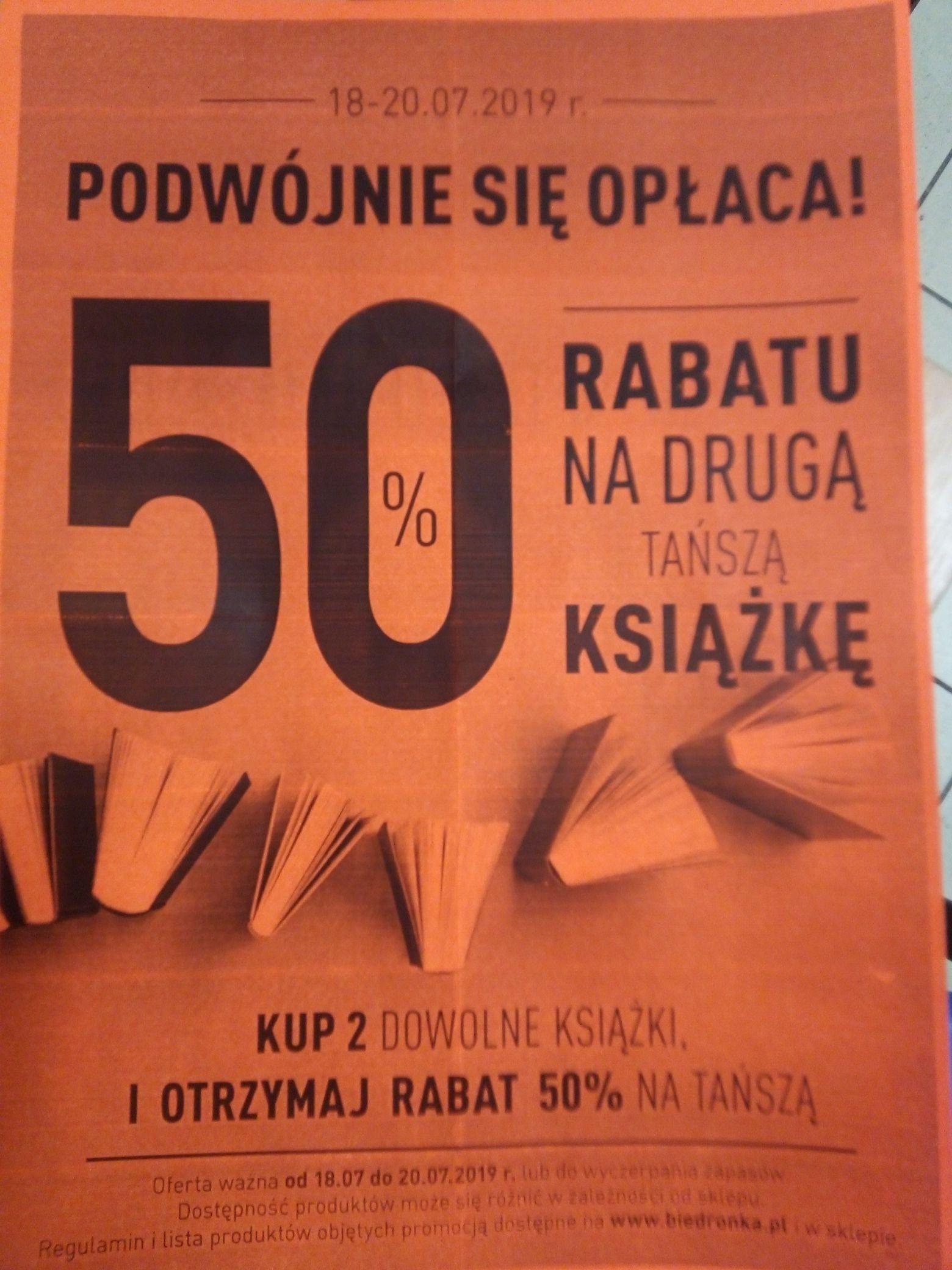 Kup 2 dowolne książki a za tańszą z nich zapłać 50% promocja od18-20.07