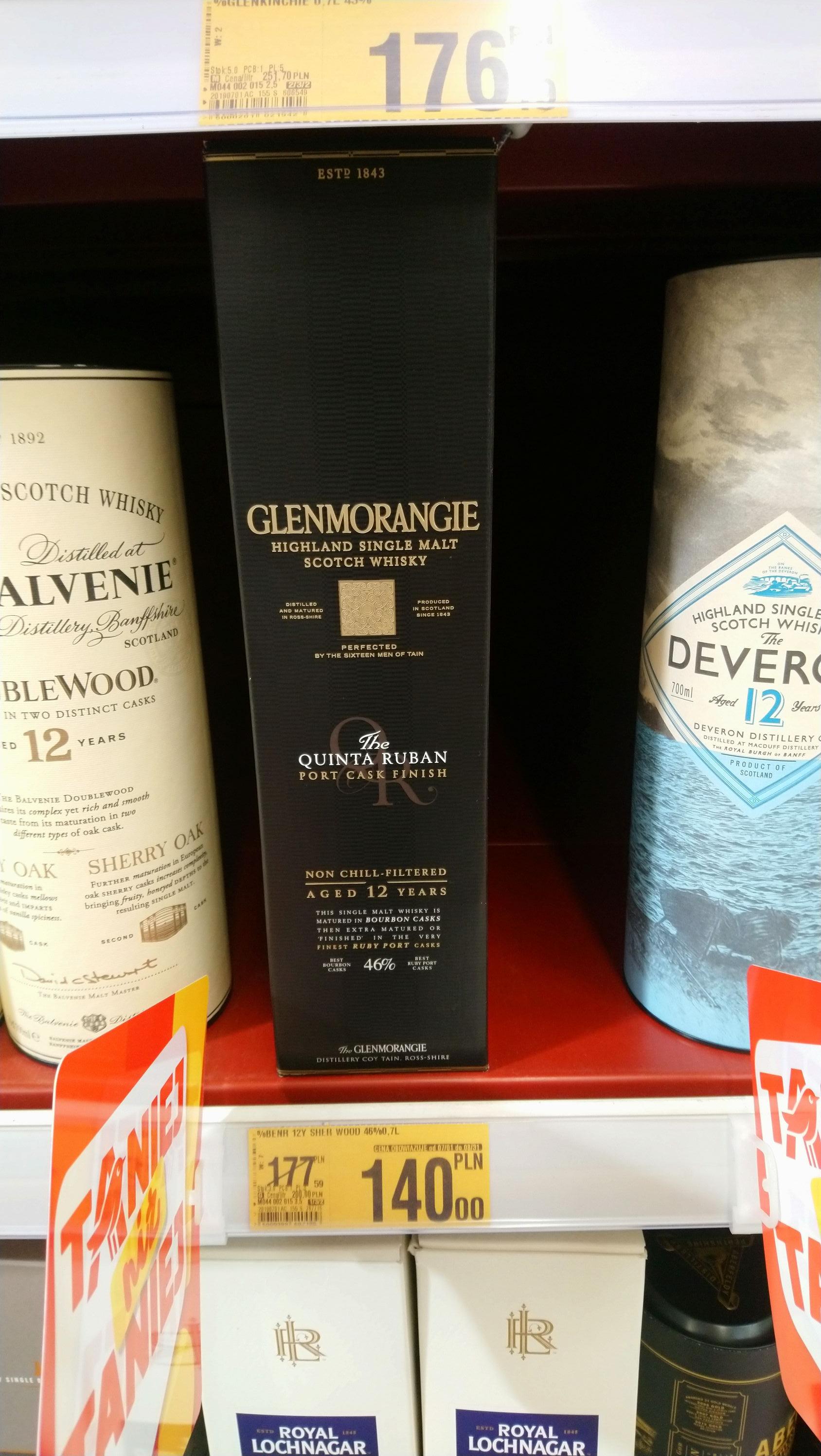 Glenmorangie 12YO the Quinta Ruban 46% Szkocka Whisky Single Malt Port Cask 0,7L + Karton Auchan Toruń