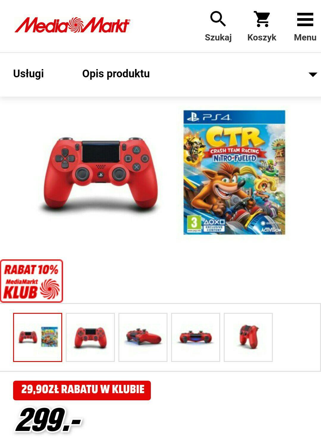 Kontroler bezprzewodowy SONY PlayStation DUALSHOCK 4 v2 Czerwony + Crash Team Racing Nitro-Fueled