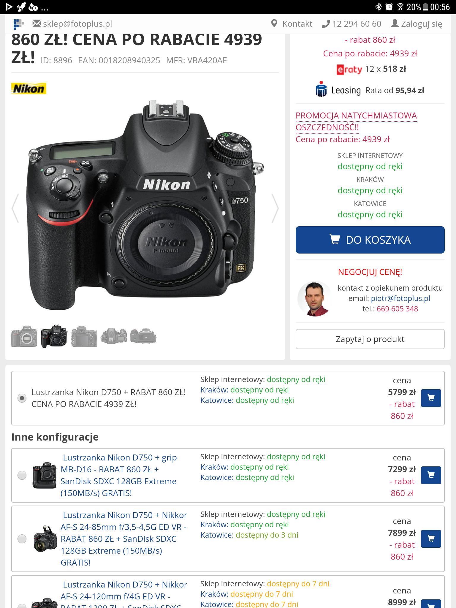 Świetny aparat Nikon D750 w najlepszej cenie z polskiej dystrybucji