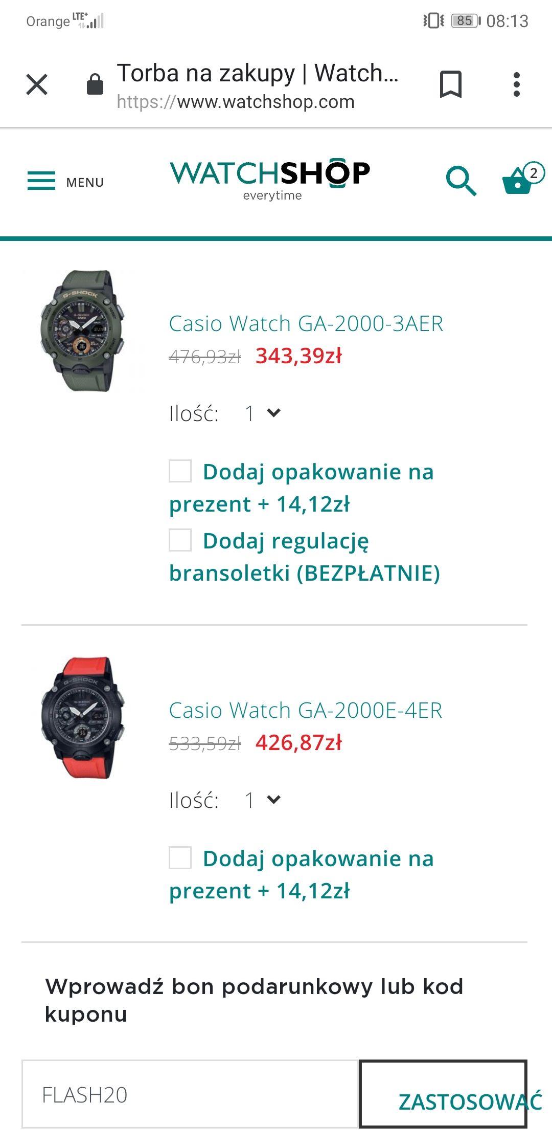 Zegarek Casio Gshock nowe modele dobre ceny po zastosowaniu kodu