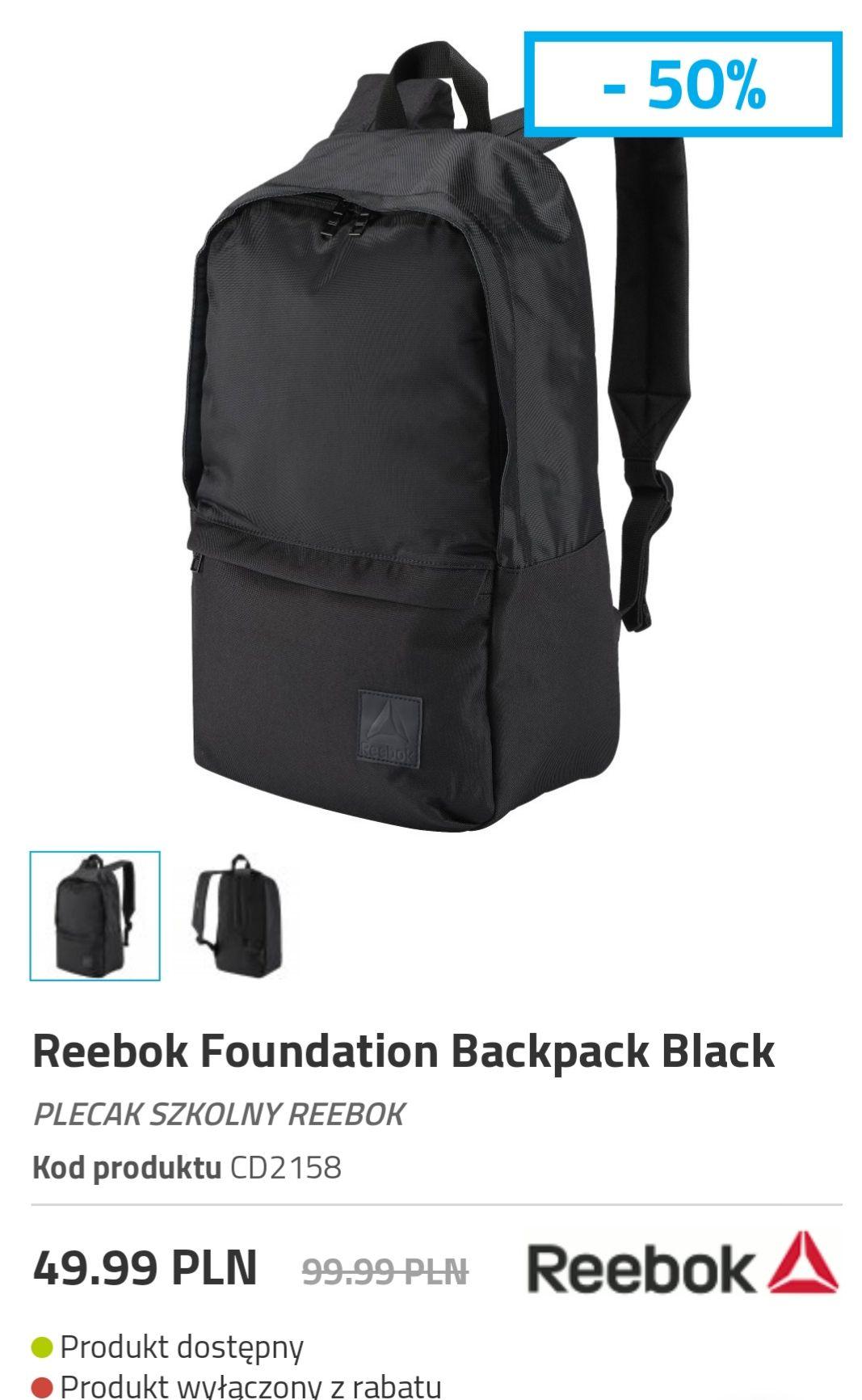 Reebok Foundation Backpack Black  PLECAK SZKOLNY REEBOK Kod produktuCD2158 3 kolory