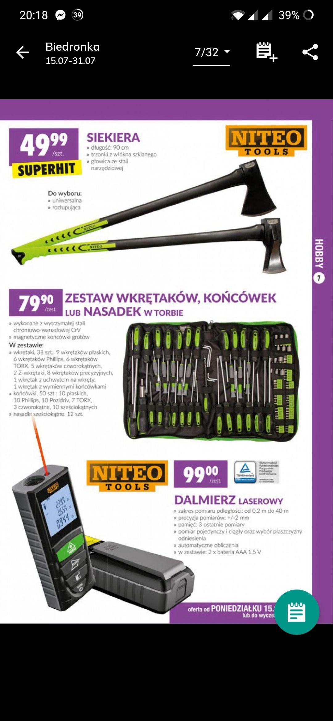 Siekiera marki Niteo Tools klasyczna oraz rozłpująca.