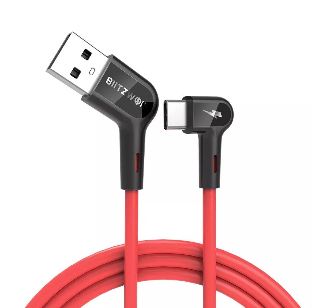 (PRAWIE)NIEZNISZCZALNY KABEL USB-C Blitzwolf® BW-AC1 3A 90°Right