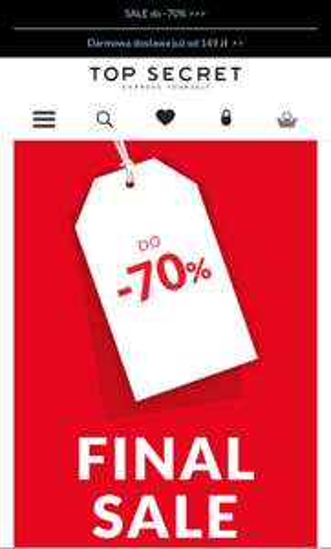 Obniżka cen - 70% w TopSecret