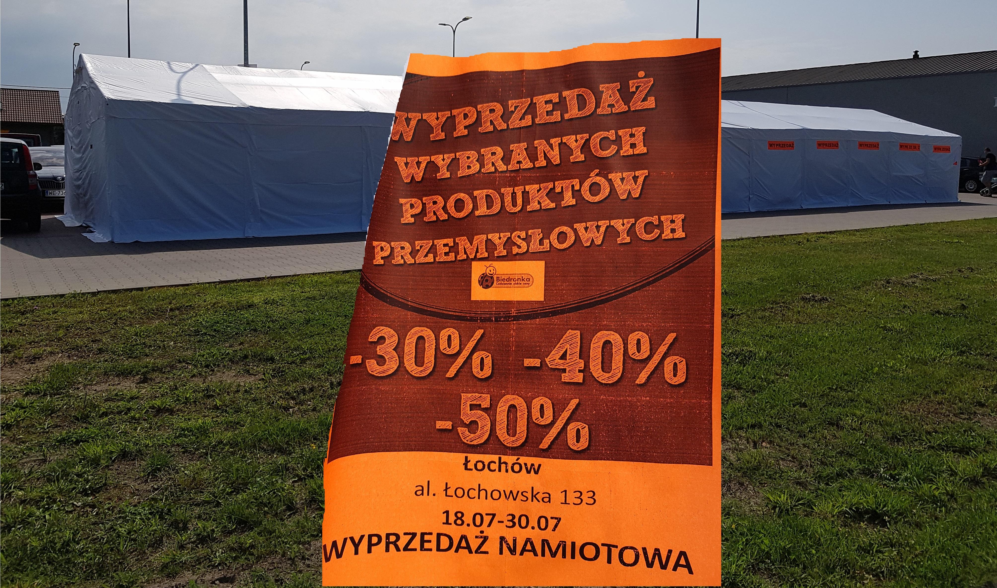 Lokalna wyprzedaż namiotowa art. przemysłowych | Biedronka Łochów