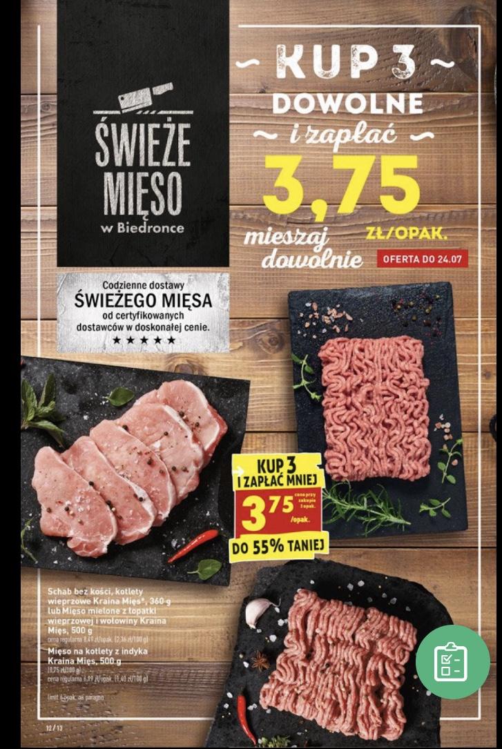 Wybrane mięso przy zakupie 3 opakowań 3,75zl/op Biedronka