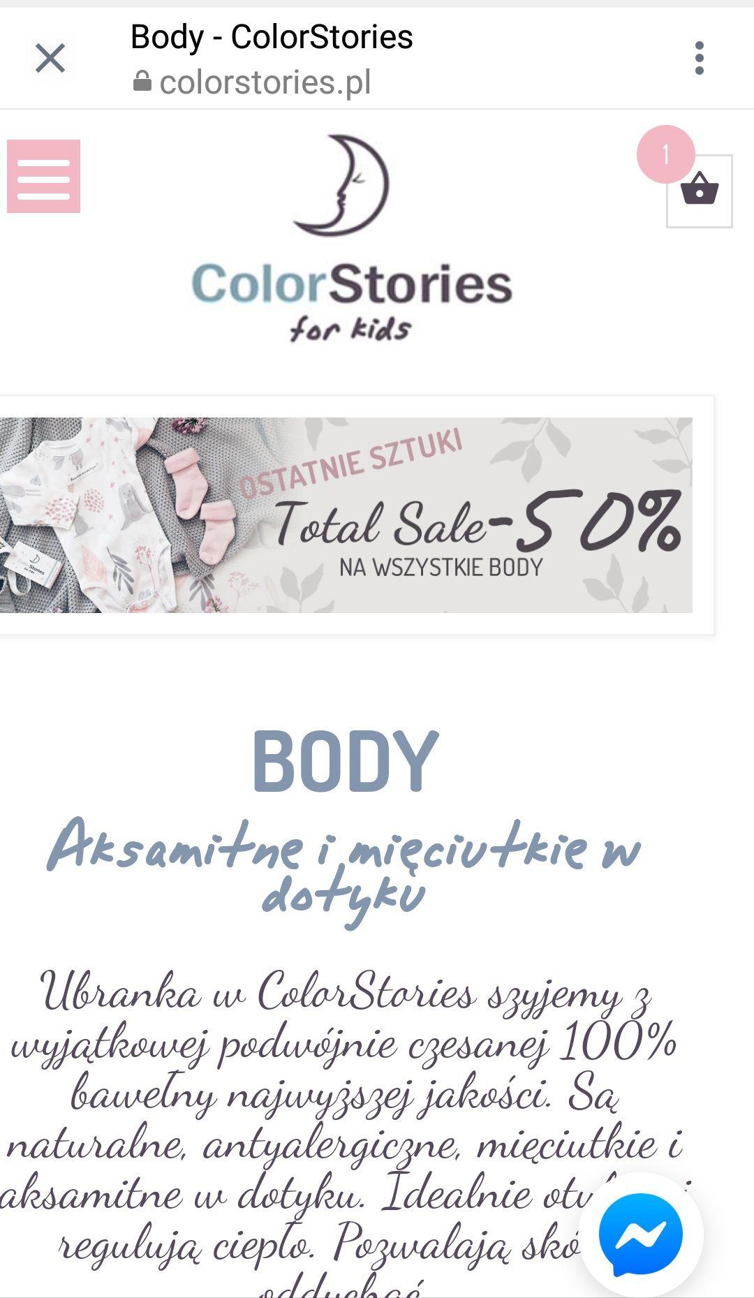 50% zniżki na premium body Colorstories dla niemowląt z podwójnie czesanej, stuprocentowej bawełny.