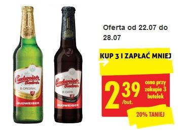 3x piwo Budweiser Original i Dark (2,39 zł za 1) @ Biedronka