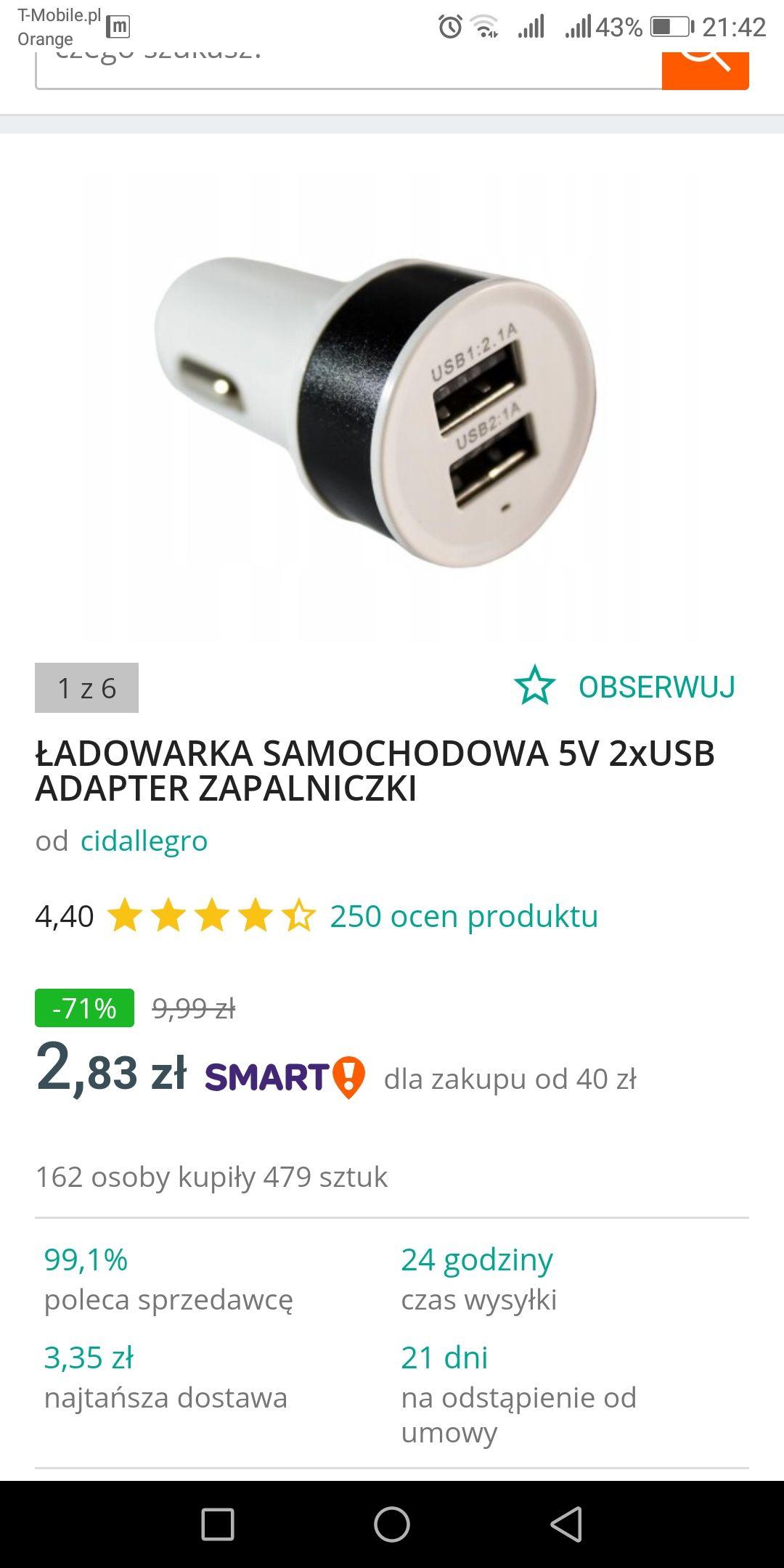 ŁADOWARKA SAMOCHODOWA 2x USB - 5V / 2,1A + 1A