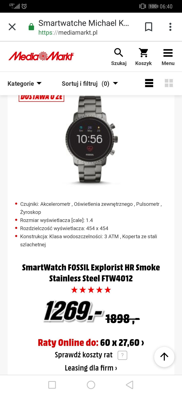 Smartwatch Fossil HR Smoke i inne do 33% taniej