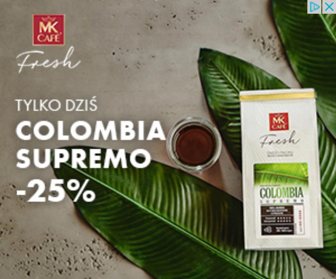 -25% na kawę Colombia Supremo 250g w MK Cafe Fresh