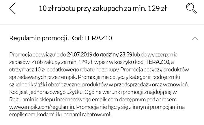 Empik -10 zł za zakupy min 129 zł. Działa chyba tylko przy zakupie przez aplikację.