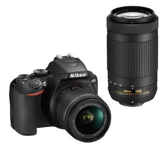 Nikon D3500 + AF-P DX 18–55 VR + AF-P DX 70–300 VR + karta 16 GB i torba
