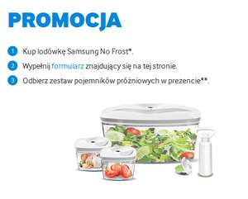 Zestaw pojemników próżniowych przy zakupie lodówki No Frost @ Samsung