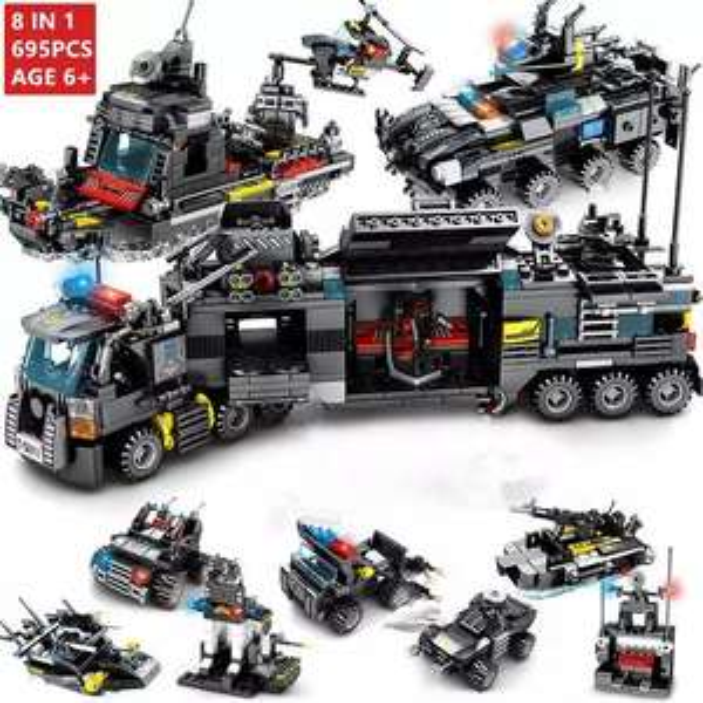 """Duzy zestaw klockòw """"lego"""" (695 elementow) - motyw SWAT"""