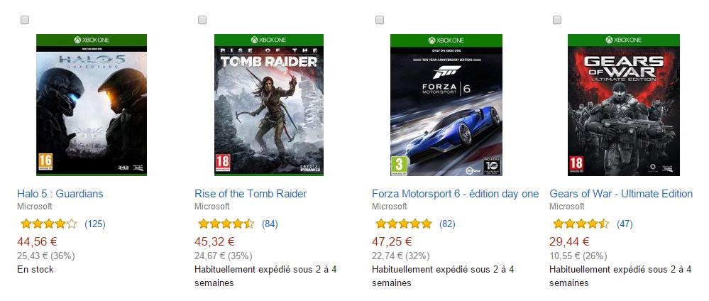 Kup dwie gry na Xbox One - tańszą dostaniesz GRATIS (Halo, Forza, Tomb Raider, Gears Of War) @ Amazon.fr