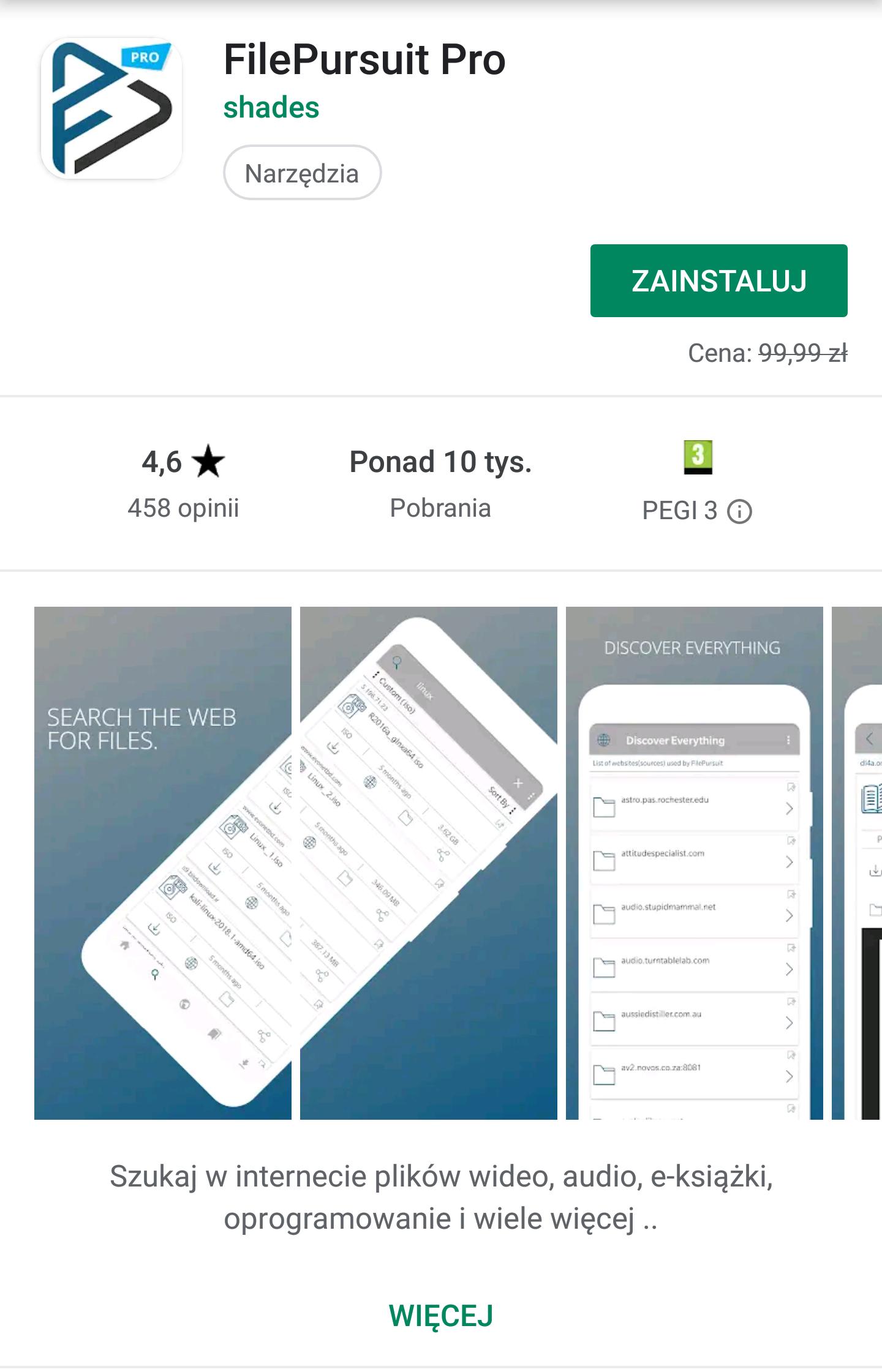 FilePursuit Pro - Android - aplikacja do wyszukiwania plików