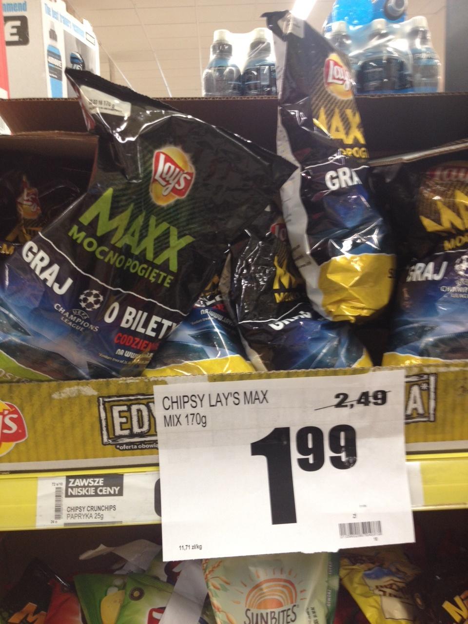 Chipsy Lay's Maxx 170g za 1,99zł @ Biedronka