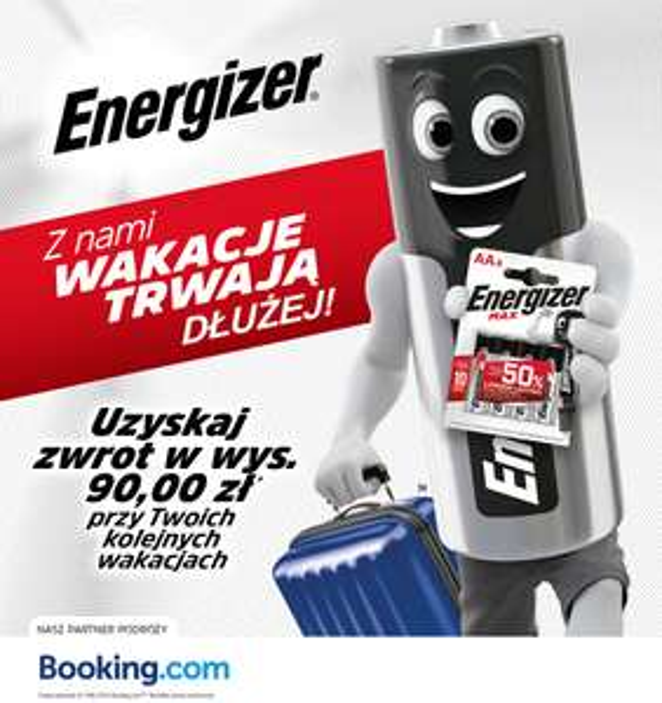 90 zł na booking.com od Energizer
