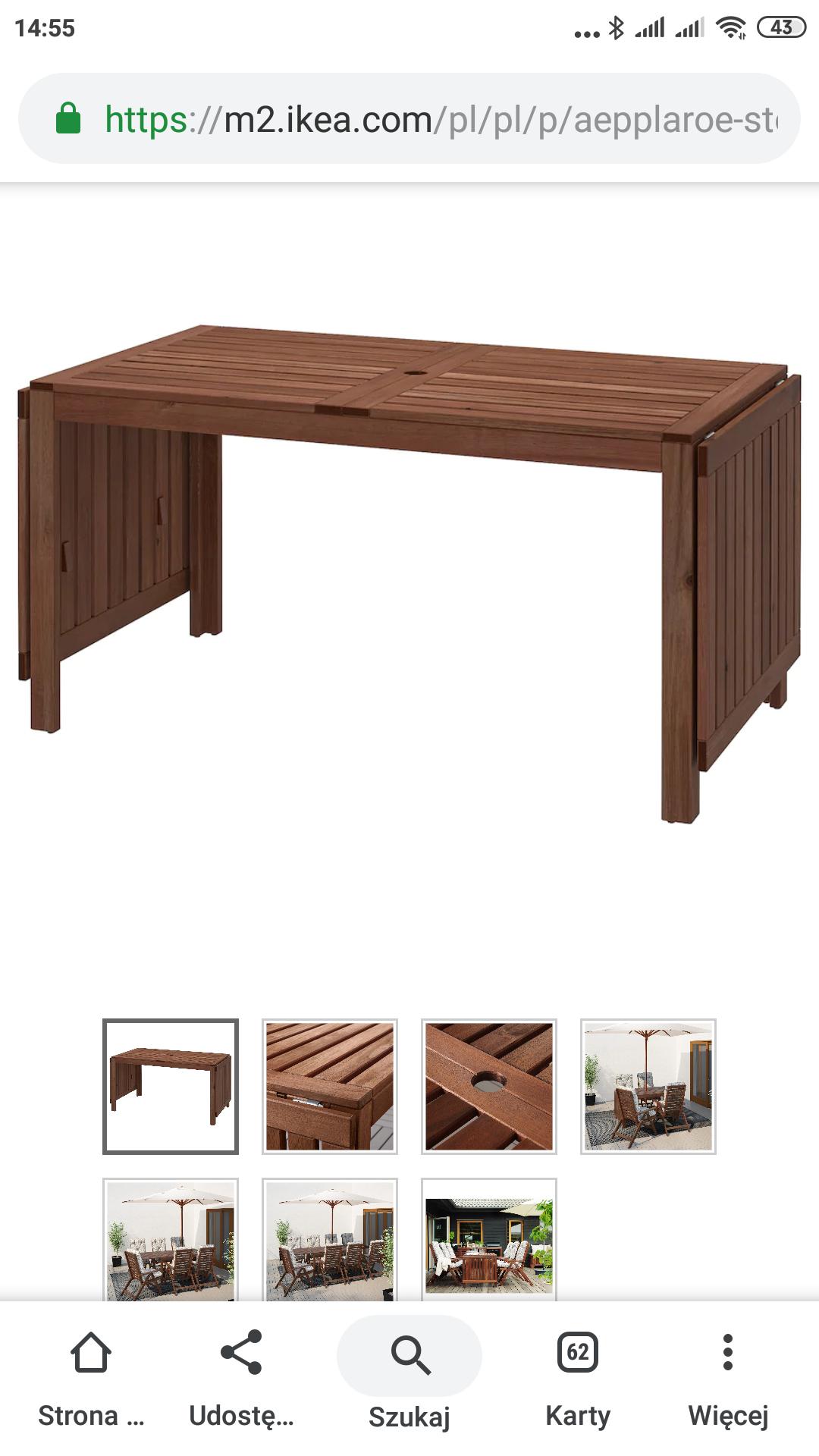 Stół z opuszczanym blatem Ikea z kartą Ikea family. Dostawa od 29 zł