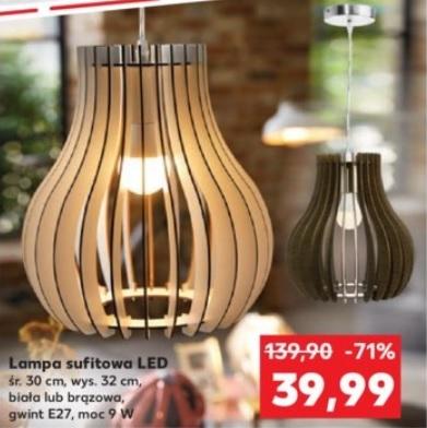 """Lampa sufitowa LED, biała lub brązowa, kształt """"gruszki"""", gwint E27, LED 9W w zestawie @ Kaufland"""