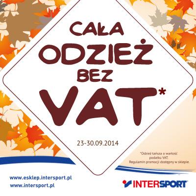 Cała odzież tańsza o VAT @ Intersport