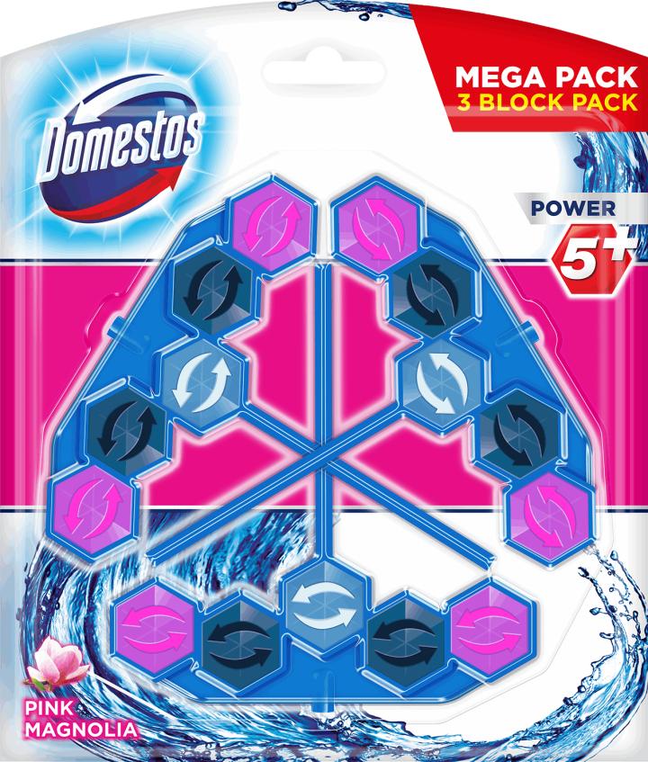 Zawieszki do WC Domestos Power 5+ 3x53 g Pink Magnolia i inne Biedronka