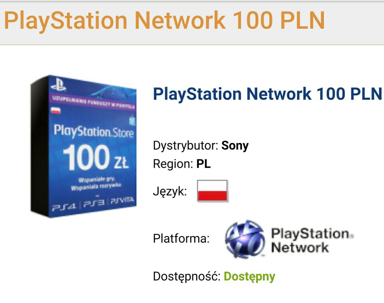 Doładowanie konta PlayStation Network 100 PLN za 92.99 PLN