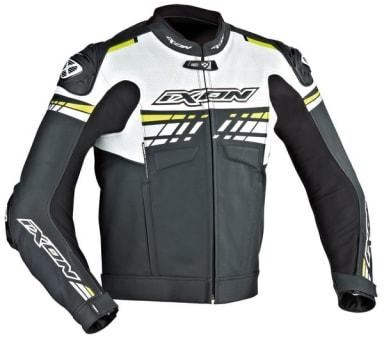 Skórzana kurtka motocyklowa IXON EXOCET kolor biały/czarny/żółty