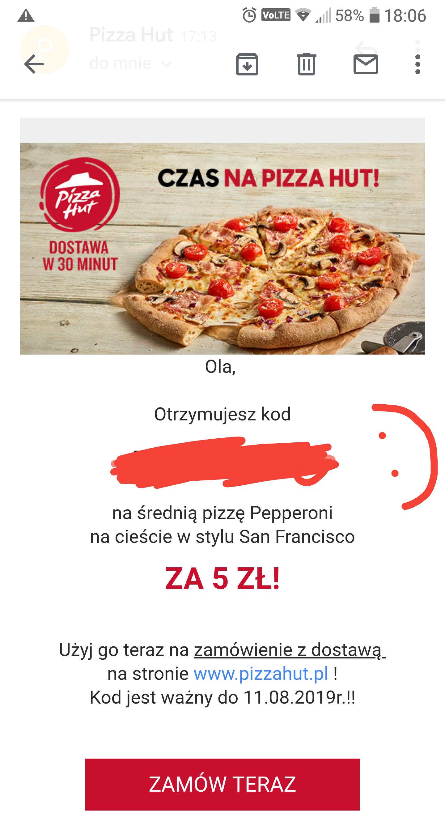 Pizza Hut średnia pepperoni za 5 przy zamówieniu za min 34zł