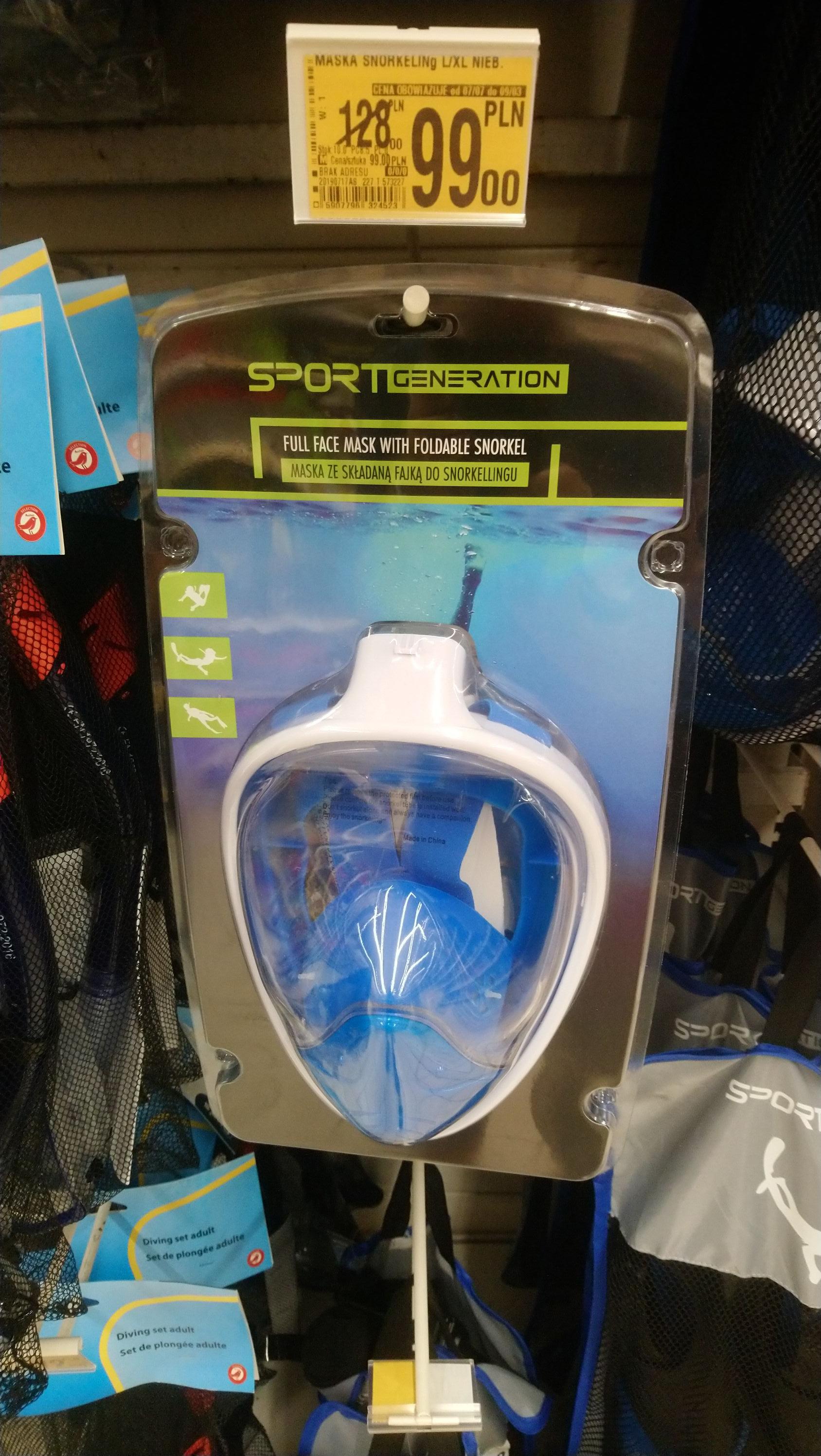Maska do snorkelingu - 99zł/zestaw: maska do snorkelingu plus płetwy -129zł@ Auchan.