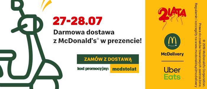 Darmowa dostawa z McDonald's w Uber Eats