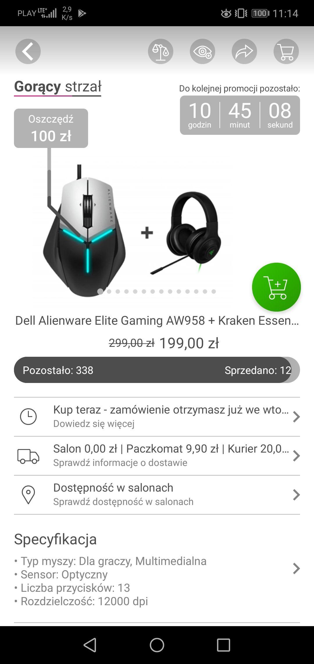 Mysz Dell Alienware Elite + Razer Kraken