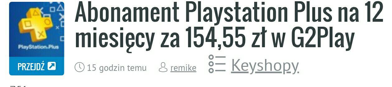 Ps+ na rok za 154.55 zł