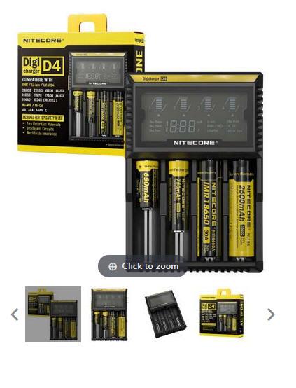 inteligentna ładowarka Nitecore Digi-charger D4 - Ekran LCD, do baterii Li-Ion IMR LiFePO4 Ni-MH