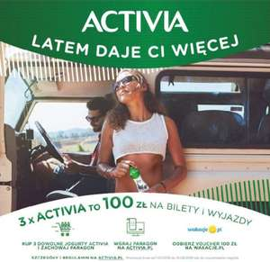 Za zakup 3x Activia dostajesz 100 zł na wakacje.pl lub lecimy.pl