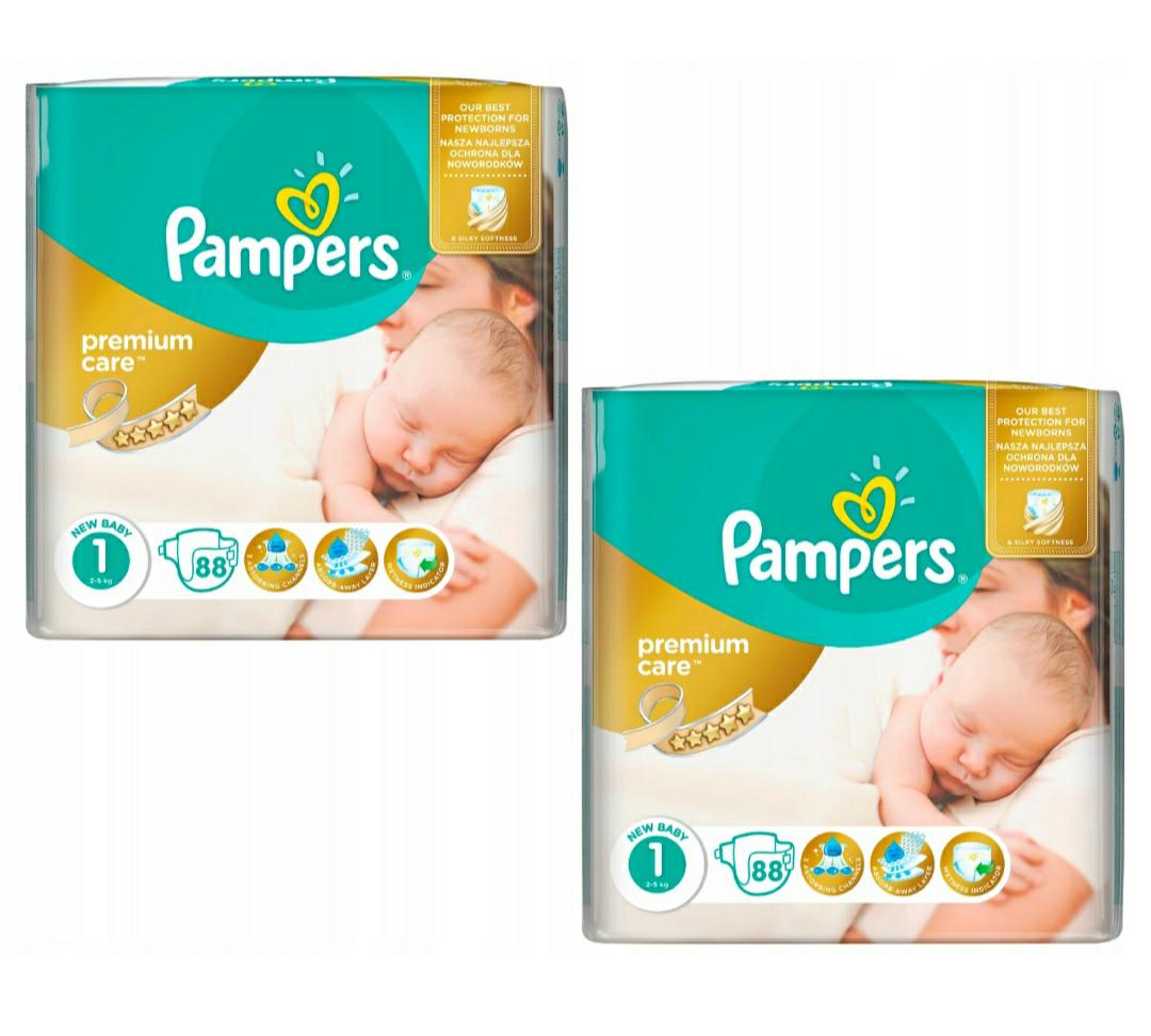 Pieluchy Pampers Premium Care 1, 176 sztuk, 0.45zł za sztukę