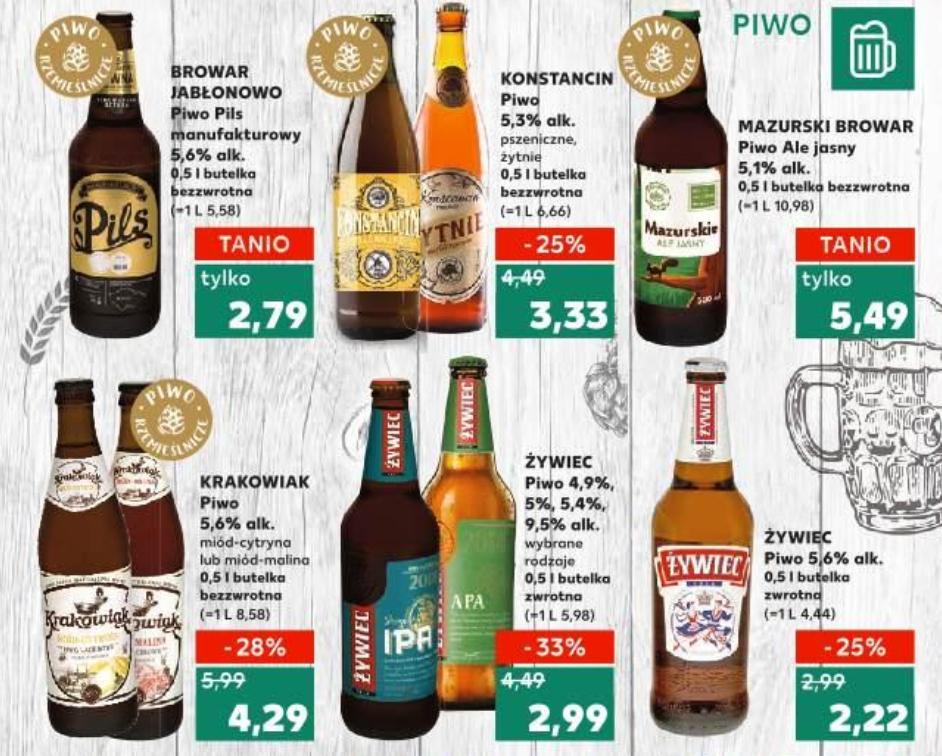 Piwa: Żywiec: Porter, APA, Sesyjne IPA, Amerykańskie Pszeniczne, Białe (2,99zł z 4,49zł) i inne (regionalne) @ Kaufland