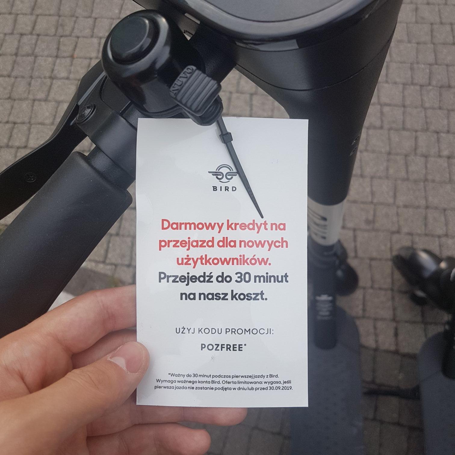 Hulajnogi Bird - darmowe 30 minut w Poznaniu