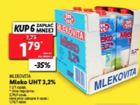 Mleko UHT Mlekovita cena przy zakup 6 sztuk @Lidl