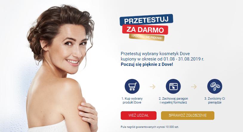 SMOLAR Przetestuj wybrany kosmetyk Dove kupiony w okresie od 01.08 - 31.08.2019 r.