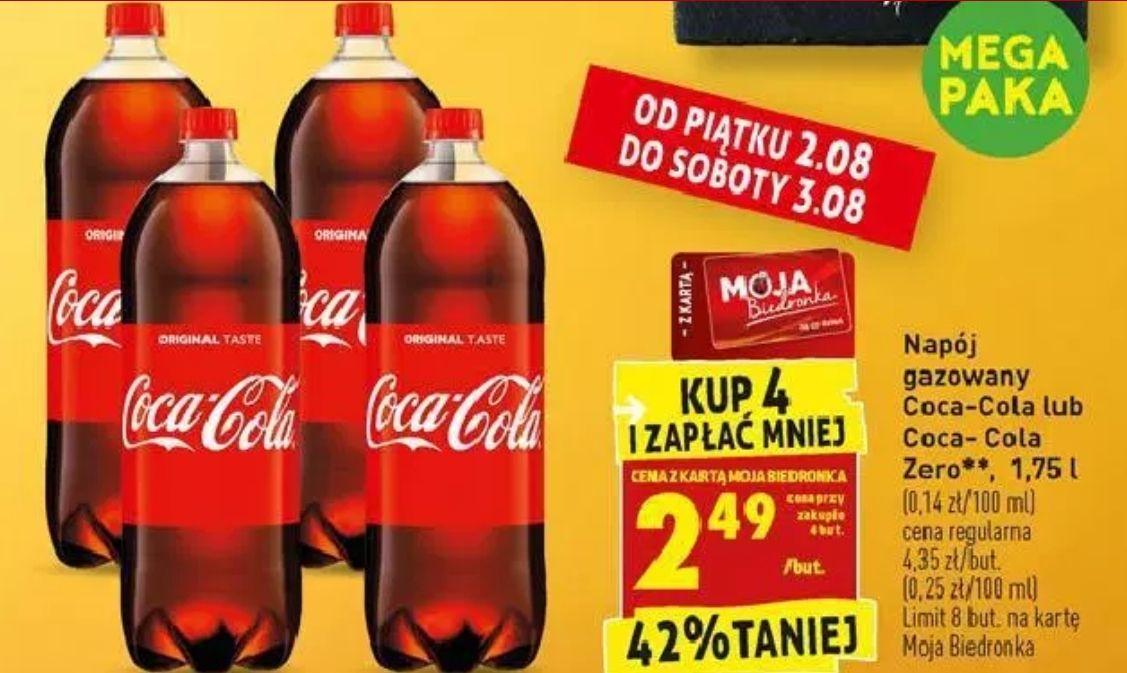 4x Coca-Cola (również Zero) 1,75L (TYLKO 1,42zł/L) @ Biedronka