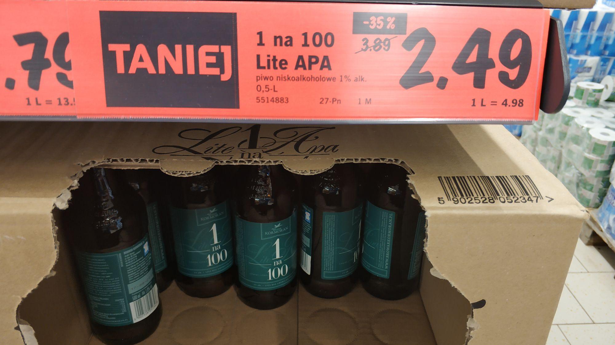 Piwo 1 na 100 Lite APA 0.5L Browar  Kormoran. Lidl Lubin.