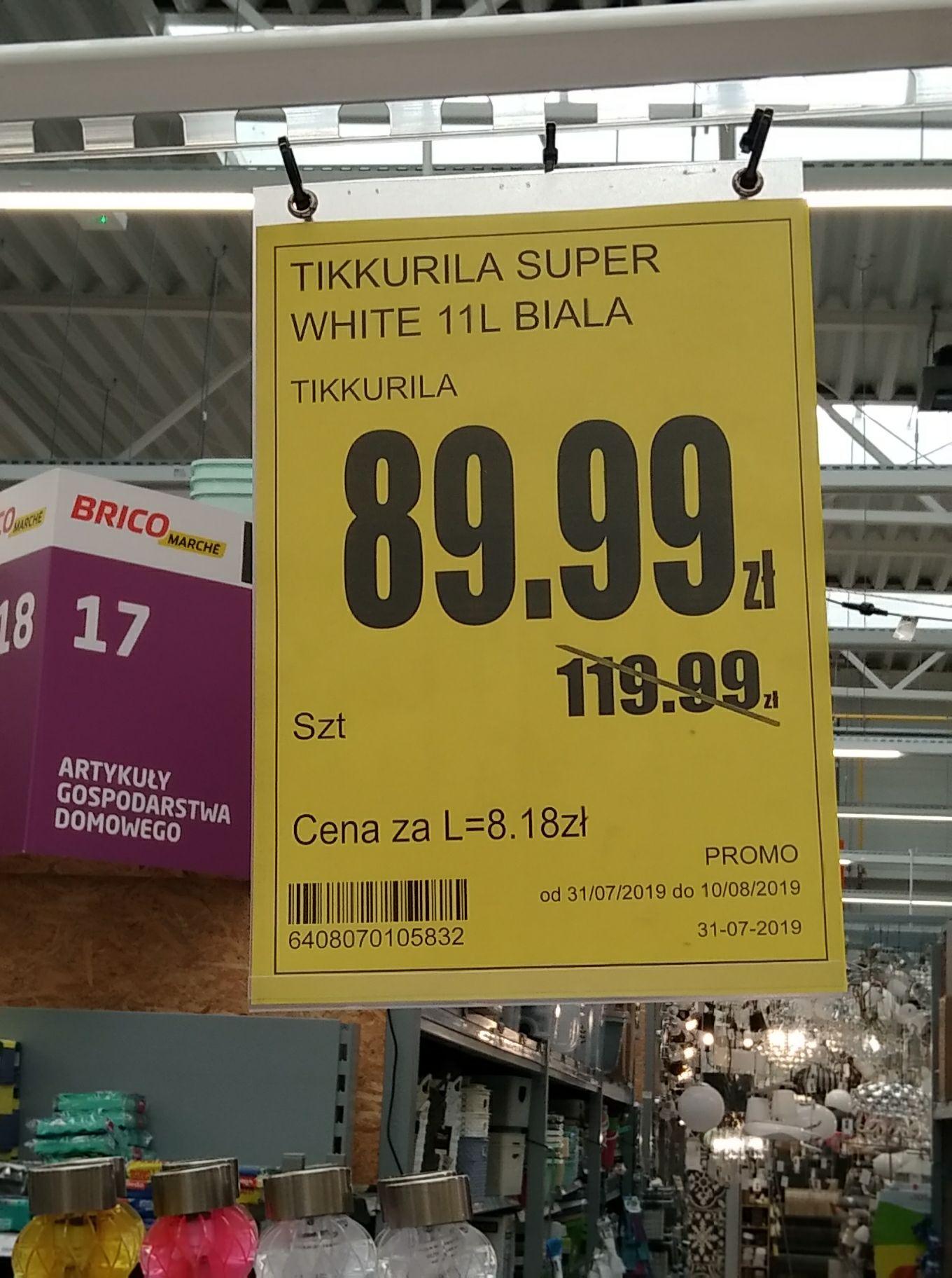 Farba lateksowa Tikkurilla Super White 11 l w Bricomarche