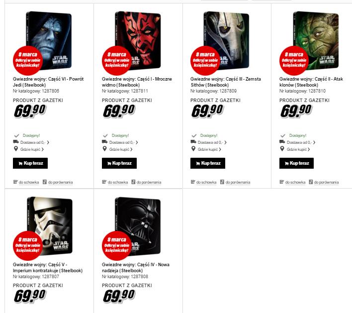 Gwiezdne Wojny części I-VI [Blu-Ray, Steelbook] każda po 69,90zł @ Media Markt