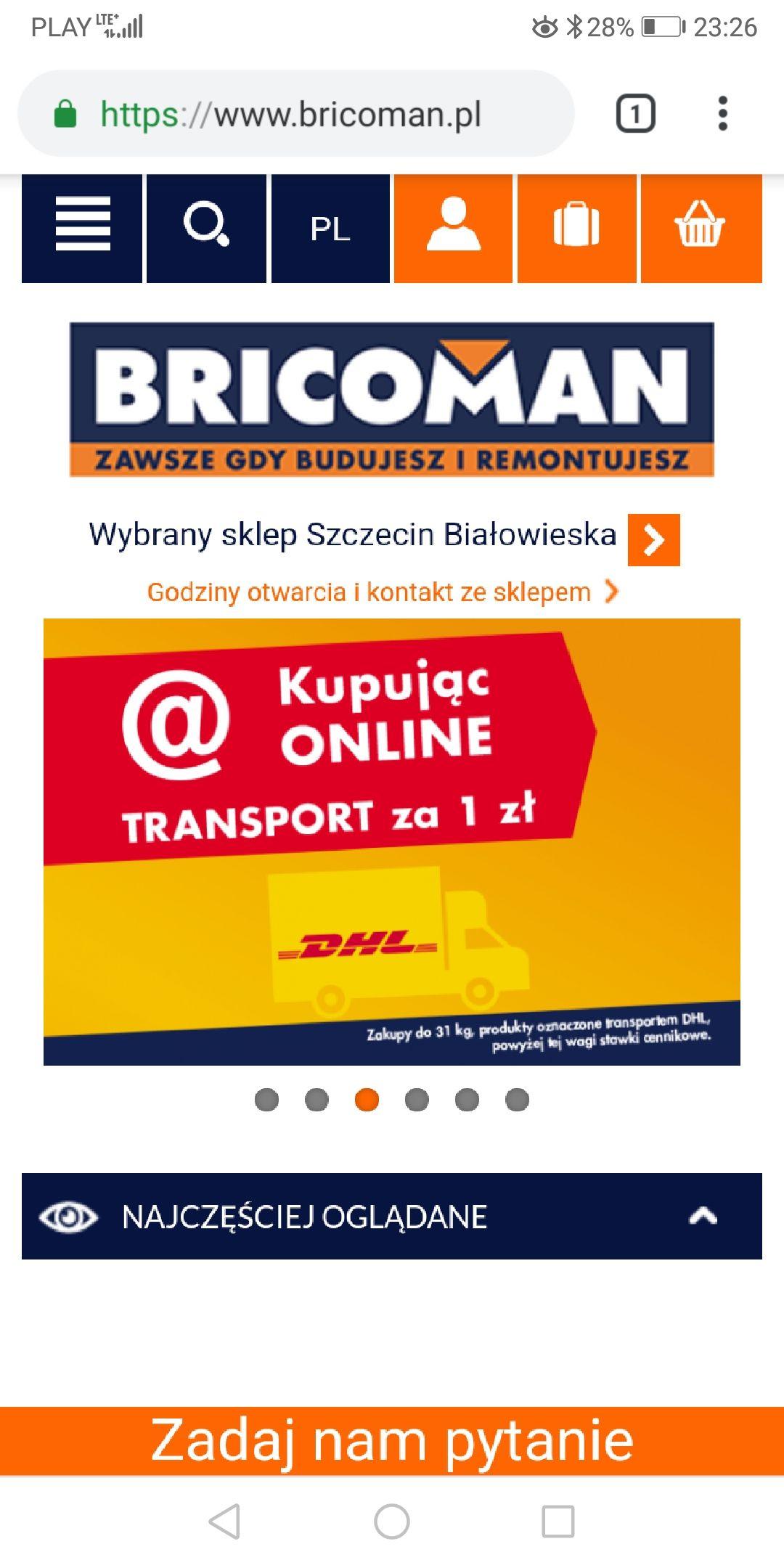 Prawie darmowa dostawa DHL w Bricoman